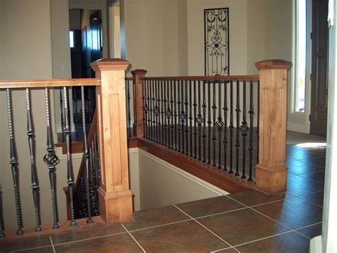 Wood Railing with Wrought Iron Balusters - Traditional