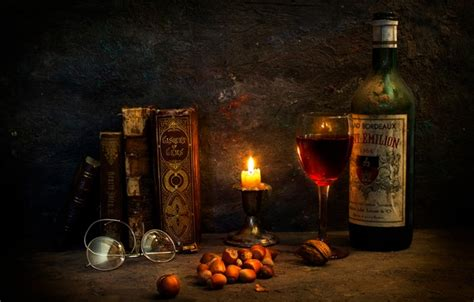 Wallpaper wine, books, candle, glasses, A special occasion