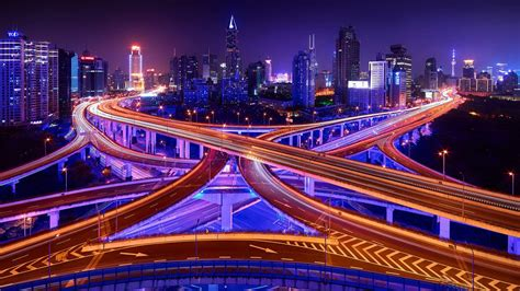 Shanghai At Night Eye View Of The City Hd Wallpaper For Pc
