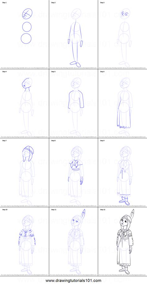 How to Draw Tiger Lily from Peter Pan printable step by