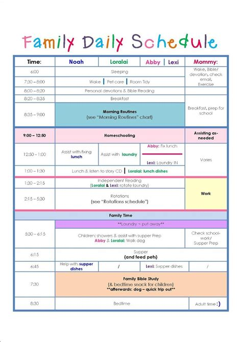 Family Daily Routine Schedule Template … | Home Schedule