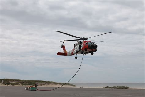 Coast Guard Helicopter Crew Delivers Cargo for Monomoy