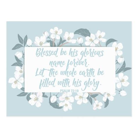 Blessed Be His Name Psalm 72:19 Christian Verse Postcard