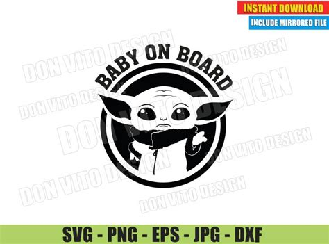 Baby Yoda on Board (SVG dxf PNG) The Mandalorian Star Wars