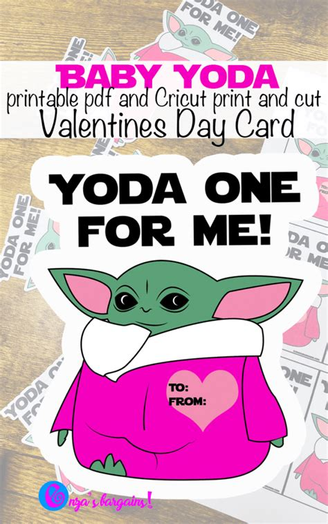 Baby Yoda Valentine's Day Cards - Print and Cut - Enza's