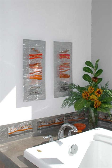 Contemporary Glass Wall Art, Fused Glass & Metal Wall Art