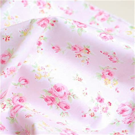 1 meter shabby chic pink rose fabric patchwork cotton