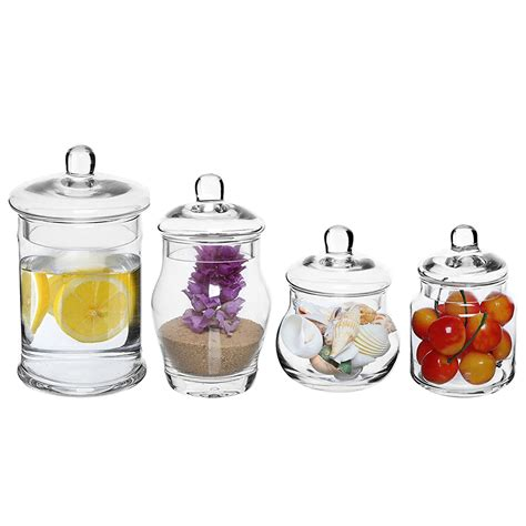 Set of 4 Decorative Clear Glass Apothecary Jars, Wedding