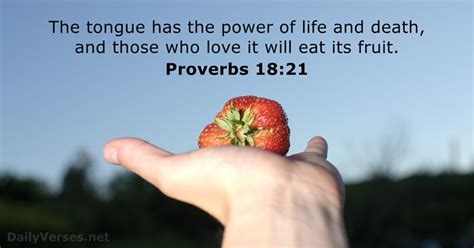 Proverbs 18:21 - Bible verse of the day - DailyVerses