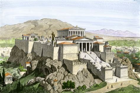 Acropolis of ancient Athens, crowned by the Parthenon and